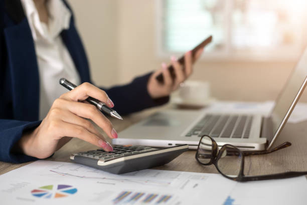 Femme comptable en train de faire les comptes d'une entreprise sur un journal comptable en ligne