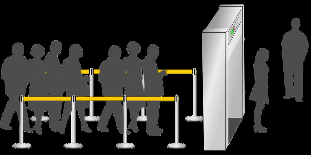 illustration de personnes attendant pour passer sous un portique de sécurité sous le contrôle d'une personne