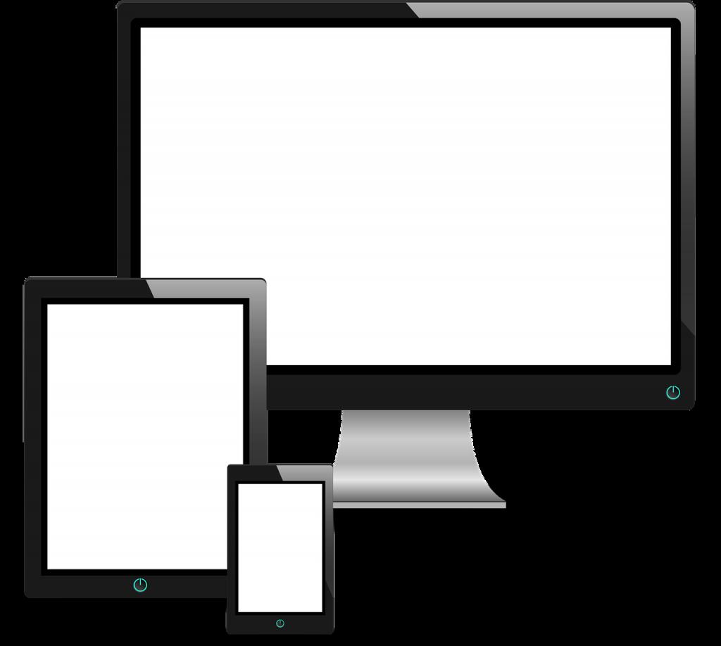ordinateur, tablette et smartphone posés les uns devant les autres